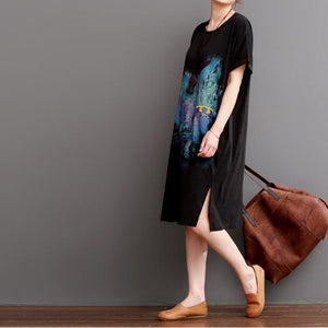 Black cotton maxi dresses print summer dress beads decarated