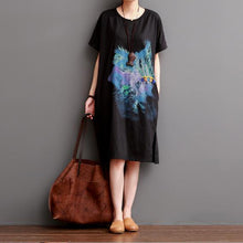 Load image into Gallery viewer, Black cotton maxi dresses print summer dress beads decarated