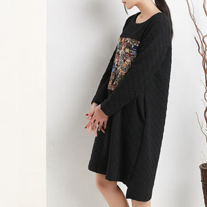 Black cotton shift dress spring dresses long sleeve