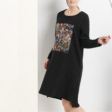 Load image into Gallery viewer, Black cotton shift dress spring dresses long sleeve