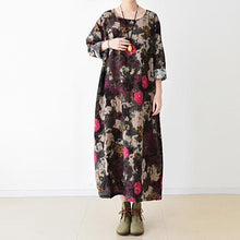 Load image into Gallery viewer, Black floral cotton maxi dress oversized caftans