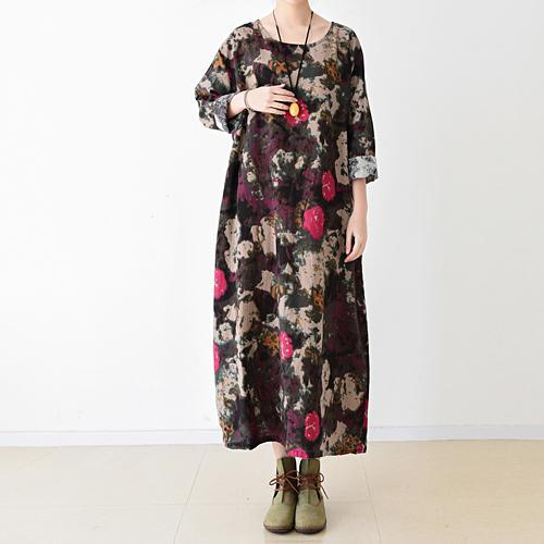 Black floral cotton maxi dress oversized caftans