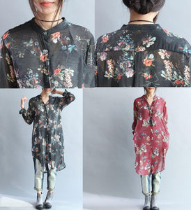 Black floral print long silk shirts tunic cotton dresses