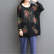 Load image into Gallery viewer, Black floral summer women blouse oversize top shirts