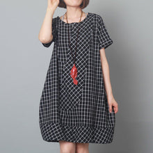Load image into Gallery viewer, Black grid baggy sundress plus size cotton summer dress maternity dressess