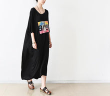 Laden Sie das Bild in den Galerie-Viewer, Black half sleeve tunic cotton maxi dress summer dresses