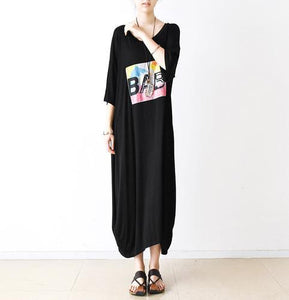 Black half sleeve tunic cotton maxi dress summer dresses