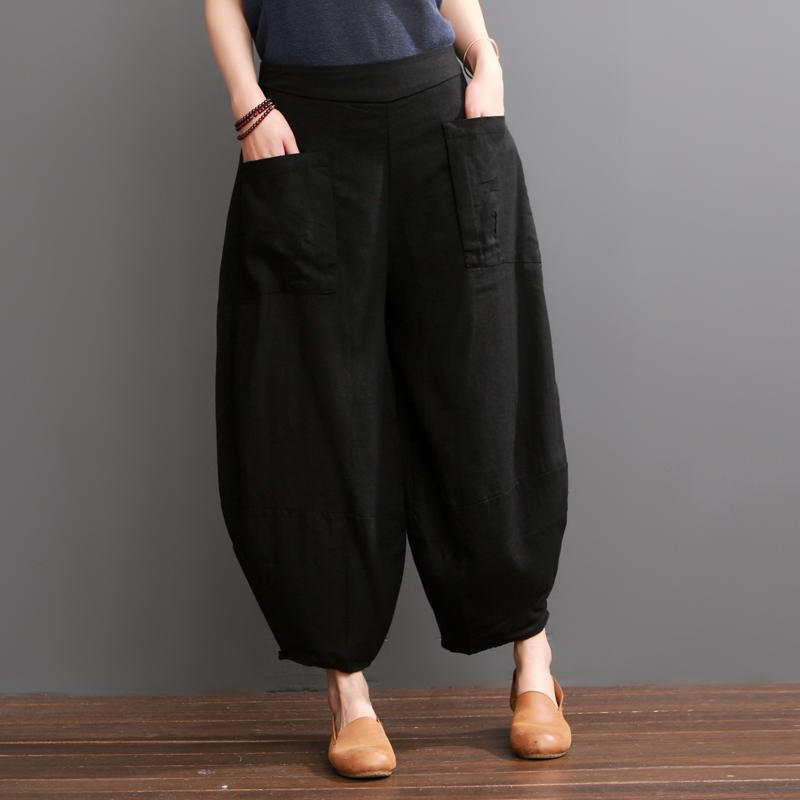 Black knickers linen pants summer bloomers