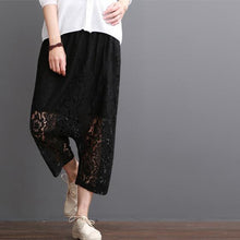 Load image into Gallery viewer, Black lace pants crop lace pants summer short harem trousers