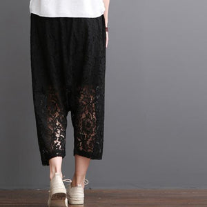 Black lace pants crop lace pants summer short harem trousers