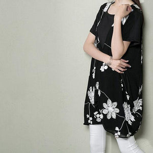 Black layered sundress plus size cotton shift dress summer maternity dresses