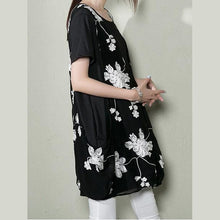 Laden Sie das Bild in den Galerie-Viewer, Black layered sundress plus size cotton shift dress summer maternity dresses