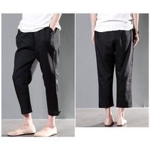 Load image into Gallery viewer, Black linen casual crop pants  New