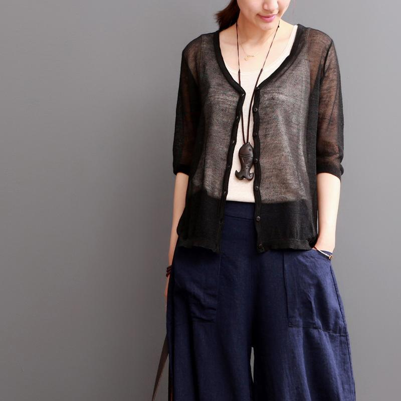 Black linen coat women summer cardigan