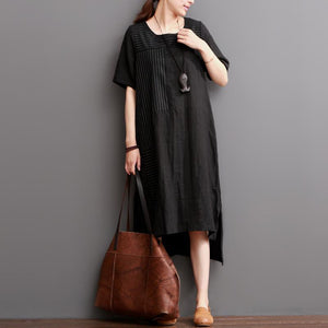 Black linen dress short sleeve summer maxi dress plus size