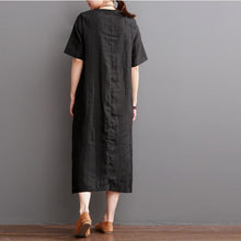 Load image into Gallery viewer, Black linen dress short sleeve summer maxi dress plus size