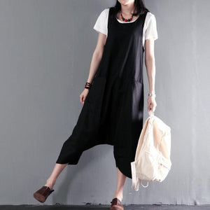 Black linen jumpsuits strap pants plus size retro style
