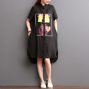 Black linen shirt dress summer shift dresses split girl