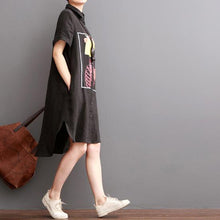 Load image into Gallery viewer, Black linen shirt dress summer shift dresses split girl