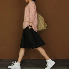 Load image into Gallery viewer, Black linen summer skirt short linen skirts elastic waist