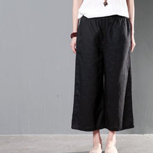 Load image into Gallery viewer, Black linen summer wide leg pants skirts