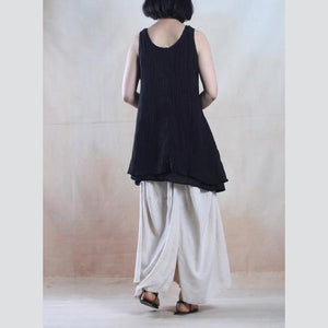 Black linen tank tops layered shirt asymmetrical design