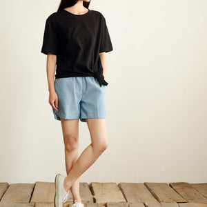 Black loose casual summer t shirt cotton women blouse oversize