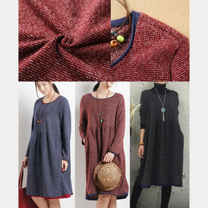 Black oversize causal dress long sleeves dress women blouse