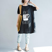 Load image into Gallery viewer, Black oversize print linen blouses linen dresses shirts