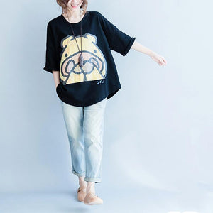 Black oversize summer cotton t shirts tops blouses the shy hippo