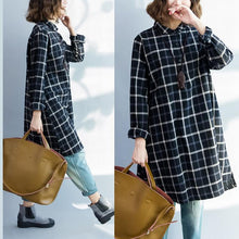 Load image into Gallery viewer, Black plaid plus size cotton dresses long sleeve linen shirts blouses  fall