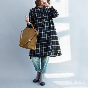 Black plaid plus size cotton dresses long sleeve linen shirts blouses  fall