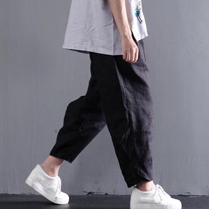 Black plus size linen pants summer women pants long trousers
