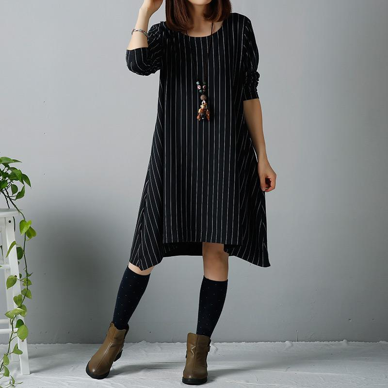 Black plus size winter dresses long blouses