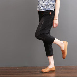 Black ripped pants for summer women crop trousers