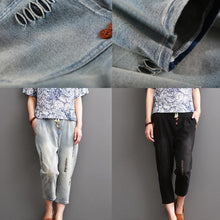 Laden Sie das Bild in den Galerie-Viewer, Black ripped pants for summer women crop trousers