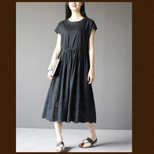 Load image into Gallery viewer, Black short sleeve cotton sundress plus size summer maxi dresses