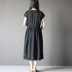 Black short sleeve cotton sundress plus size summer maxi dresses