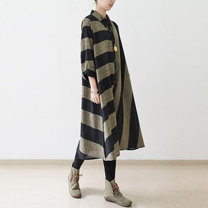 Black strip linen dresses long sleeve linen maxi dress oversize traveling dresses