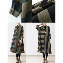 Laden Sie das Bild in den Galerie-Viewer, Black strip linen dresses long sleeve linen maxi dress oversize traveling dresses