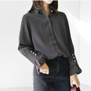Black strip women shirt long trumpet sleeves casual blouses