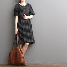 Load image into Gallery viewer, Black striped cotton sundress oversize cotton shift dresses