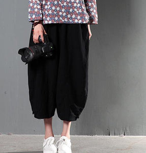 Black stylish causal linen pants oversize trousers