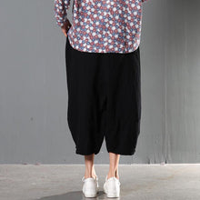 Load image into Gallery viewer, Black stylish causal linen pants oversize trousers