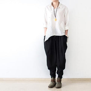 Black stylish linen pants oversized cotton pants New