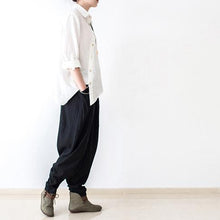 Load image into Gallery viewer, Black stylish linen pants oversized cotton pants New