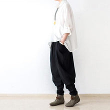 Laden Sie das Bild in den Galerie-Viewer, Black stylish linen pants oversized cotton pants New 2016