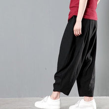 Load image into Gallery viewer, Black stylish linen summer pants spring harem pants
