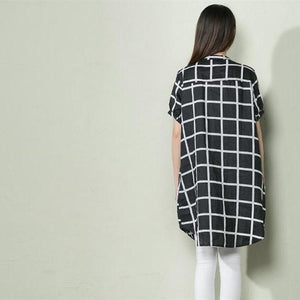 Black summer baggy grid dress oversize maternity linen dress