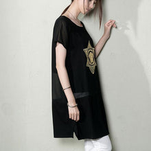 Load image into Gallery viewer, Black summer maternity dress oversize sundresses blouse shirt